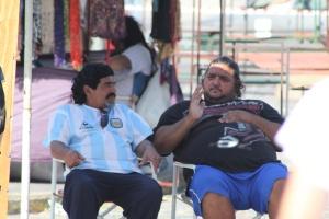 A porky Maradona lookalike