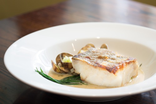 Roast cod, clam chowder, monks beard